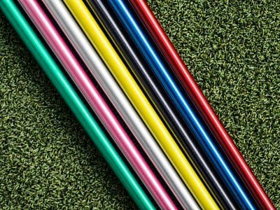 Colorful graphite golf shaft before installation